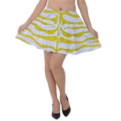 Skin2 White Marble & Yellow Leather (r) Velvet Skater Skirt