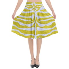 Skin2 White Marble & Yellow Leather Flared Midi Skirt