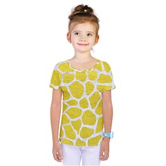 Skin1 White Marble & Yellow Leather (r) Kids  One Piece Tee