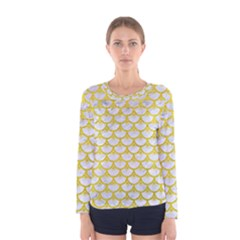 Scales3 White Marble & Yellow Leather (r) Women s Long Sleeve Tee