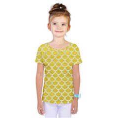 Scales1 White Marble & Yellow Leather Kids  One Piece Tee