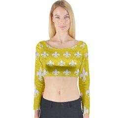 Royal1 White Marble & Yellow Leather (r) Long Sleeve Crop Top