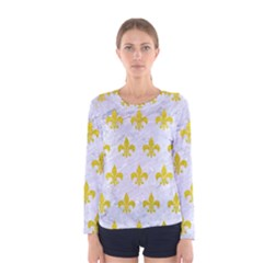 Royal1 White Marble & Yellow Leather Women s Long Sleeve Tee