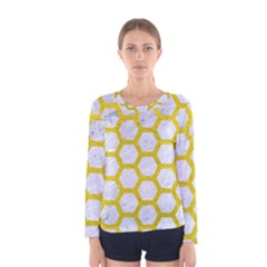 Hexagon2 White Marble & Yellow Leather (r) Women s Long Sleeve Tee