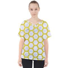 Hexagon2 White Marble & Yellow Leather (r) V Neck Dolman Drape Top