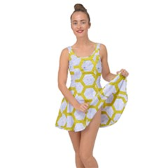 Hexagon2 White Marble & Yellow Leather (r) Inside Out Dress