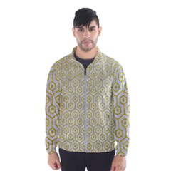 Hexagon1 White Marble & Yellow Leather (r) Wind Breaker (men)
