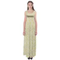 Hexagon1 White Marble & Yellow Leather (r) Empire Waist Maxi Dress