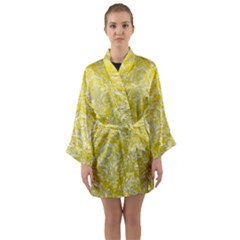 Damask1 White Marble & Yellow Leather Long Sleeve Kimono Robe
