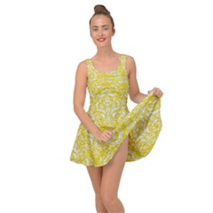 Damask1 White Marble & Yellow Leather Inside Out Dress