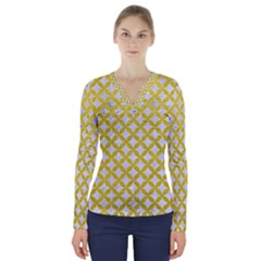 Circles3 White Marble & Yellow Leather (r) V Neck Long Sleeve Top