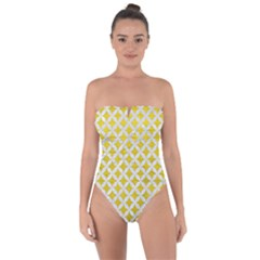 Circles3 White Marble & Yellow Leather Tie Back One Piece Swimsuit