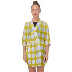 Circles1 White Marble & Yellow Leather Half Sleeve Chiffon Kimono