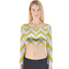 Chevron9 White Marble & Yellow Leather (r) Long Sleeve Crop Top