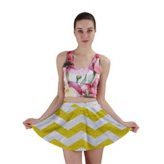 Chevron3 White Marble & Yellow Leather Mini Skirt
