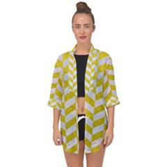 Chevron1 White Marble & Yellow Leather Open Front Chiffon Kimono