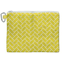 Brick2 White Marble & Yellow Leather Canvas Cosmetic Bag (xxl)