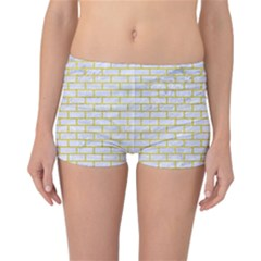Brick1 White Marble & Yellow Leather (r) Reversible Boyleg Bikini Bottoms