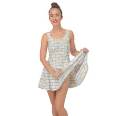 Brick1 White Marble & Yellow Leather (r) Inside Out Dress