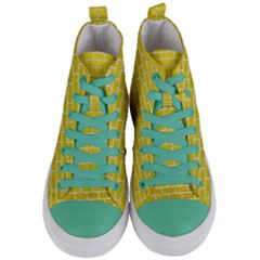 Brick1 White Marble & Yellow Leather Women s Mid Top Canvas Sneakers