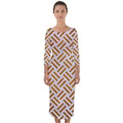 Woven2 White Marble & Yellow Grunge (r) Quarter Sleeve Midi Bodycon Dress