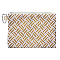 Woven2 White Marble & Yellow Grunge (r) Canvas Cosmetic Bag (xl)