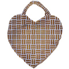 Woven1 White Marble & Yellow Grunge (r) Giant Heart Shaped Tote