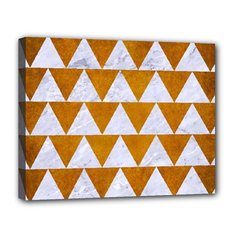 Triangle2 White Marble & Yellow Grunge Canvas 14  X 11