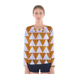 Triangle2 White Marble & Yellow Grunge Women s Long Sleeve Tee