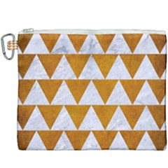 Triangle2 White Marble & Yellow Grunge Canvas Cosmetic Bag (xxxl)