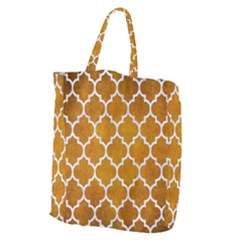 Tile1 White Marble & Yellow Grunge Giant Grocery Zipper Tote