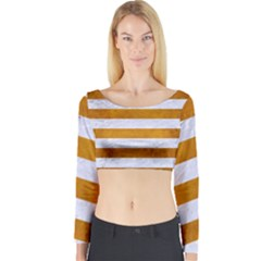 Stripes2white Marble & Yellow Grunge Long Sleeve Crop Top