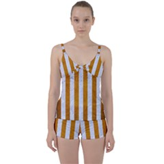 Stripes1 White Marble & Yellow Grunge Tie Front Two Piece Tankini
