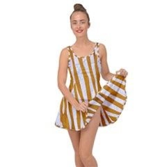 Skin4 White Marble & Yellow Grunge (r) Inside Out Dress