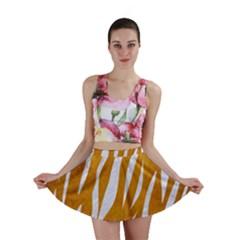 Skin3 White Marble & Yellow Grunge Mini Skirt