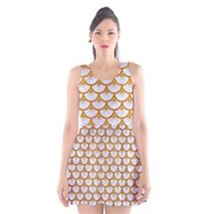 Scales3 White Marble & Yellow Grunge (r) Scoop Neck Skater Dress