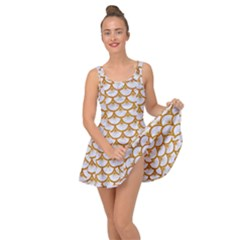 Scales3 White Marble & Yellow Grunge (r) Inside Out Dress