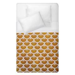 Scales3 White Marble & Yellow Grunge Duvet Cover (single Size)