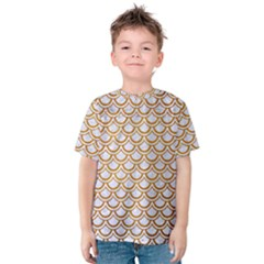 Scales2 White Marble & Yellow Grunge (r) Kids  Cotton Tee