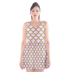 Scales1 White Marble & Yellow Grunge (r) Scoop Neck Skater Dress