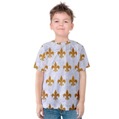 Royal1 White Marble & Yellow Grunge Kids  Cotton Tee