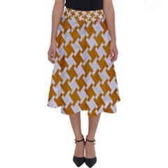 Houndstooth2 White Marble & Yellow Grunge Perfect Length Midi Skirt