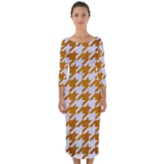 Houndstooth1 White Marble & Yellow Grunge Quarter Sleeve Midi Bodycon Dress