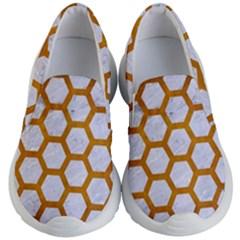 Hexagon2 White Marble & Yellow Grunge (r) Kid s Lightweight Slip Ons