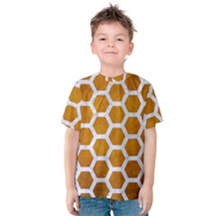 Hexagon2 White Marble & Yellow Grunge Kids  Cotton Tee