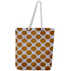 Circles2 White Marble & Yellow Grunge (r) Full Print Rope Handle Tote (large)