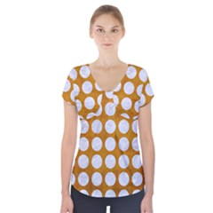 Circles1 White Marble & Yellow Grunge Short Sleeve Front Detail Top