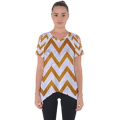 Chevron9 White Marble & Yellow Grunge (r) Cut Out Side Drop Tee