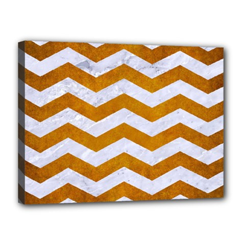 Chevron3 White Marble & Yellow Grunge Canvas 16  X 12