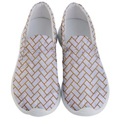 Brick2 White Marble & Yellow Grunge (r) Men s Lightweight Slip Ons